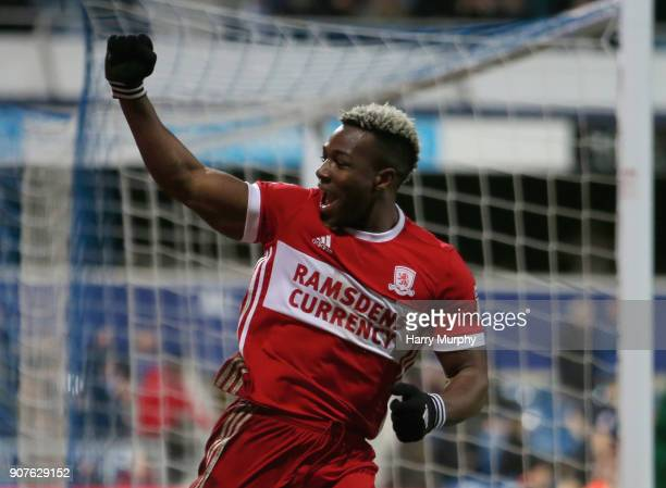 Adama Traore of Middlesbrough celebrates scoring his side's third goal during the Sky Bet Championship match between Queens Park Rangers and...