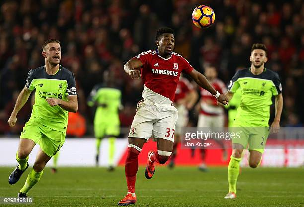 Adama Traore of Middlesbrough controls the ball during the Premier League match between Middlesbrough and Liverpool at Riverside Stadium on December...