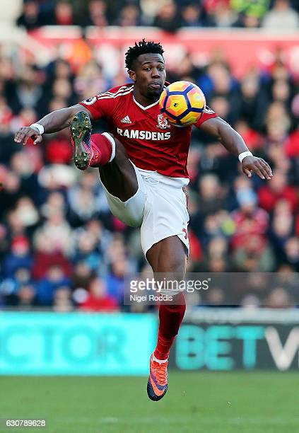 Adama Traore of Middlesbrough controls the ball in the air during the Premier League match between Middlesbrough and Leicester City at Riverside...