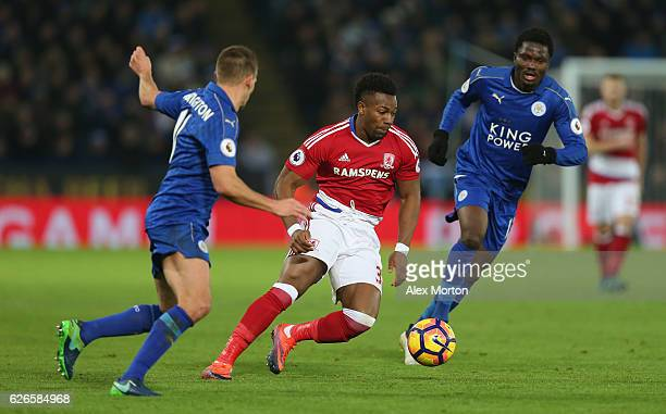 Adama Traore of Middlesbrough during the Premier League match between Leicester City and Middlesbrough at The King Power Stadium on November 26 2016...