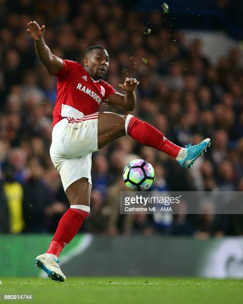 Adama Traore of Middlesbrough during the Premier League match between Chelsea and Middlesbrough at Stamford Bridge on May 8 2017 in London England