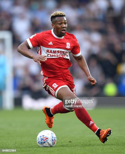 Adama Traore of Middlesbrough during the Sky Bet Championship match between Derby and Middlesbrough at iPro Stadium on April 21 2018 in Derby England