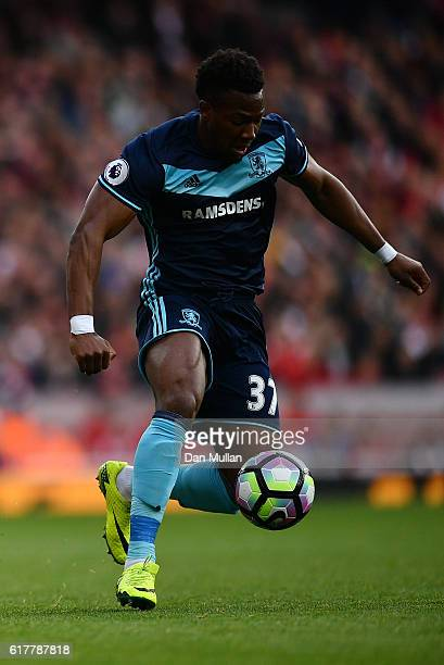 Adama Traore of Middlesbrough in action during the Premier League match between Arsenal and Middlesbrough at The Emirates Stadium on October 22 2016...