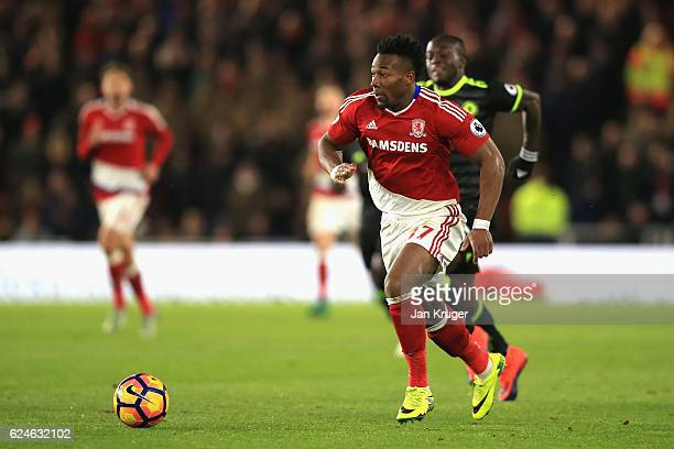 Adama Traore of Middlesbrough in action during the Premier League match between Middlesbrough and Chelsea at Riverside Stadium on November 20 2016 in...