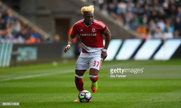 Adama Traore of Middlesbrough in action during the Premier League match between Swansea City and Middlesbrough at Liberty Stadium on April 2 2017 in...