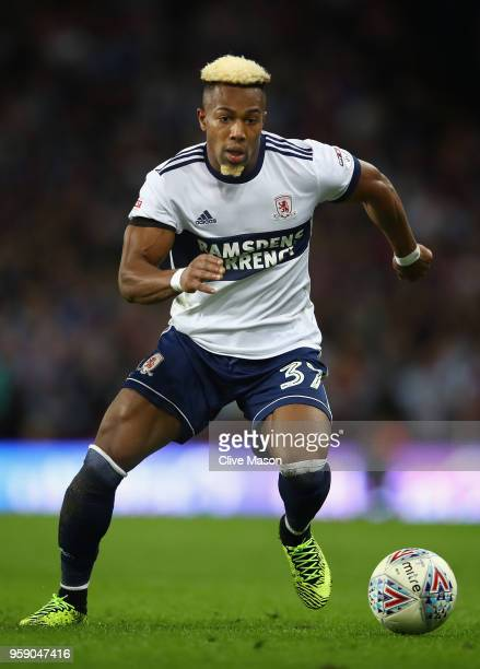 Adama Traore of Middlesbrough in action during the Sky Bet Championship Play Off Semi FinalSecond Leg match between Aston Villa and Middlesbrough at...