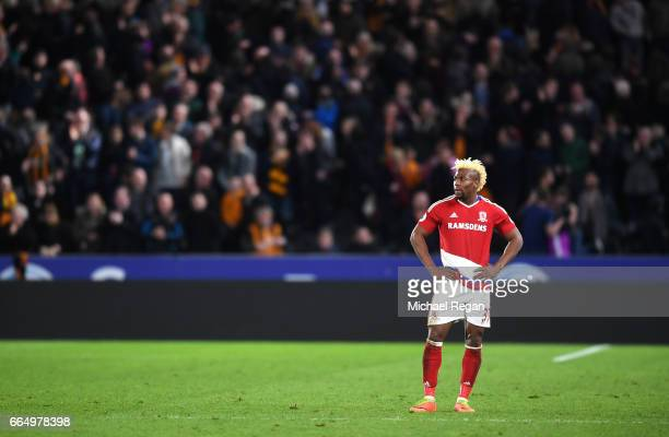 Adama Traore of Middlesbrough looks dejected during the Premier League match between Hull City and Middlesbrough at the KCOM Stadium on April 5 2017...