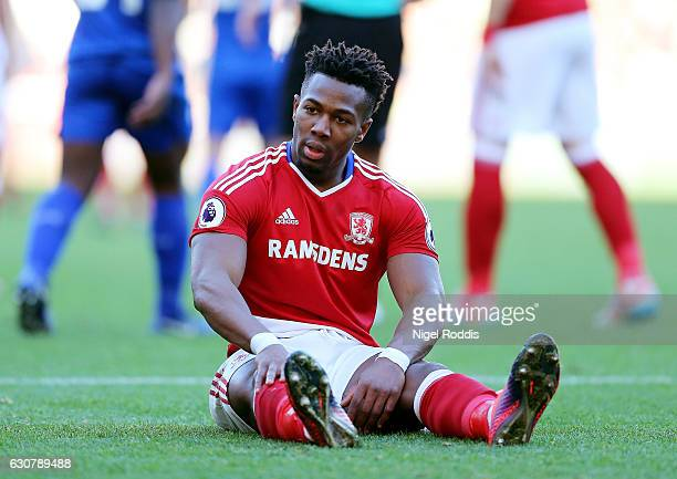 Adama Traore of Middlesbrough looks on during the Premier League match between Middlesbrough and Leicester City at Riverside Stadium on January 2...