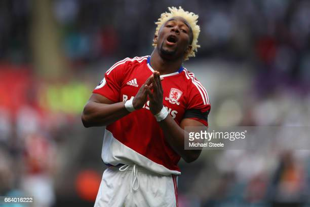 Adama Traore of Middlesbrough reacts after a missed scoring opportunity during the Premier League match between Swansea City and Middlesbrough at the...