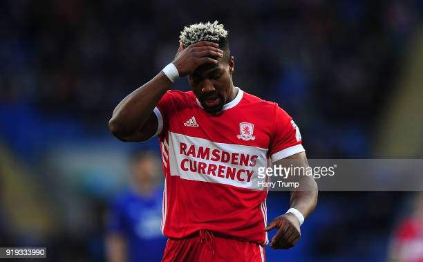 Adama Traore of Middlesbrough reacts during the Sky Bet Championship match between Cardiff City and Middlesbrough at Cardiff City Stadium on February...