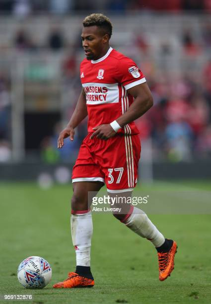 Adama Traore of Middlesbrough runs with the ball during the Sky Bet Championship Play Off Semi FinalFirst Leg match between Middlesbrough and Aston...