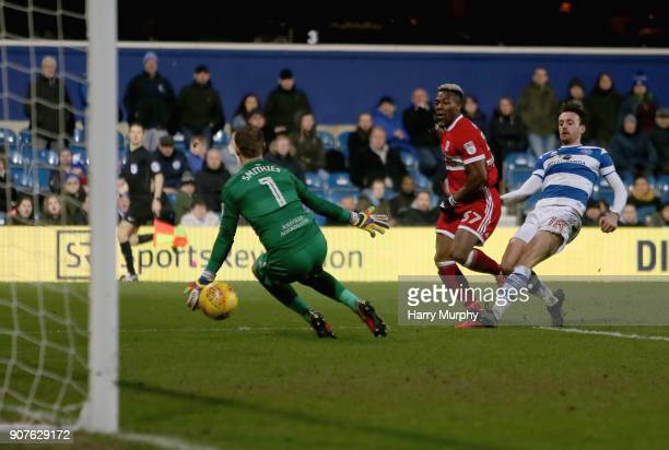 Adama Traore of Middlesbrough scores his side's third goal during the Sky Bet Championship match between Queens Park Rangers and Middlesbrough at...