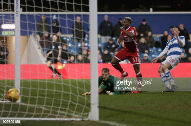 Adama Traore of Middlesbrough scores his side's third goal past Alex Smithies of Queens Park Rangers during the Sky Bet Championship match between...