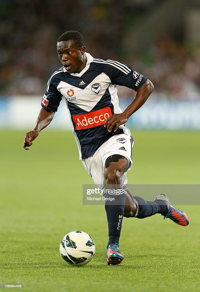 Adama Traore of the Melbourne Victory runs with the ball during the round 15 A-League match between the Melbourne Victory and Wellington Phoenix at AAMI Park on January 5, 2013 in Melbourne, Australia.