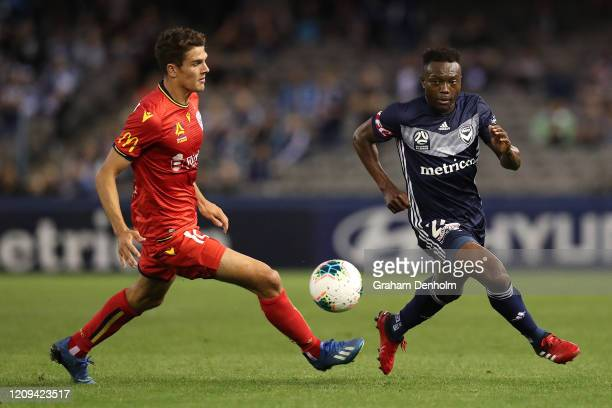Adama Traore of the Victory in action during the round 21 A-League match between the Melbourne Victory and Adelaide United at Marvel Stadium on...