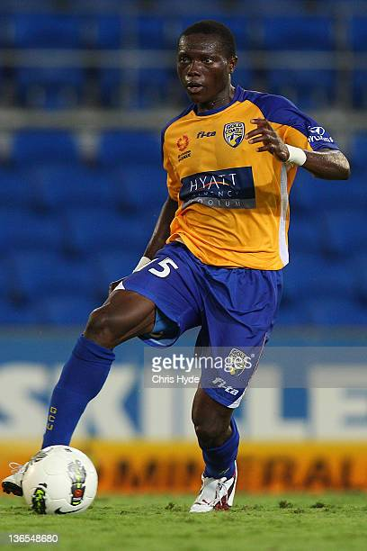 Adama Traore of United in action during the round 14 A-League match between Gold Coast United and the Melbourne Heart at Skilled Park on January 8,...