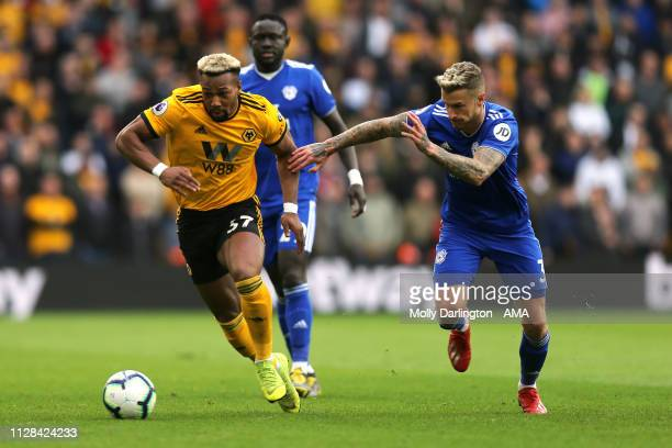 Adama Traore of Wolverhampton Wanderers and Joe Bennett of Cardiff City during the Premier League match between Wolverhampton Wanderers and Cardiff...