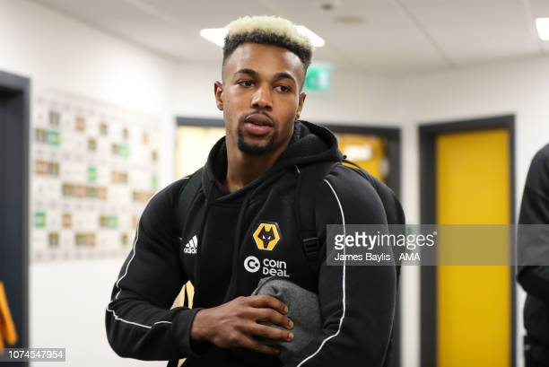 Adama Traore of Wolverhampton Wanderers arrives at the ground prior to the Premier League match between Wolverhampton Wanderers and Liverpool FC at...
