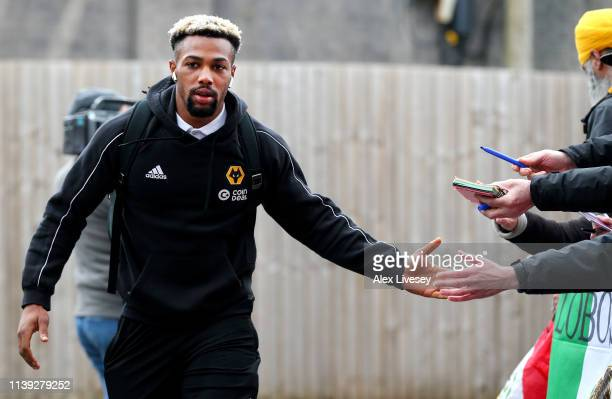 Adama Traore of Wolverhampton Wanderers arrives at the stadium prior to the Premier League match between Burnley FC and Wolverhampton Wanderers at...