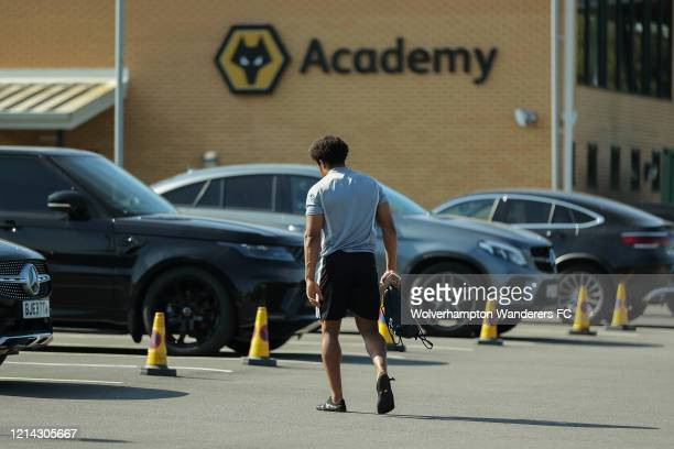 Adama Traore of Wolverhampton Wanderers arrives for a training session at Sir Jack Hayward Training Ground on May 20 2020 in Wolverhampton England