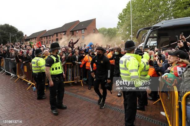 Adama Traore of Wolverhampton Wanderers arrives outside the stadium prior to the Premier League match between Wolverhampton Wanderers and Manchester...