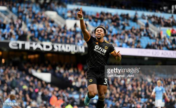 Adama Traore of Wolverhampton Wanderers celebrates after scoring a goal to make it 02 during the Premier League match between Manchester City and...