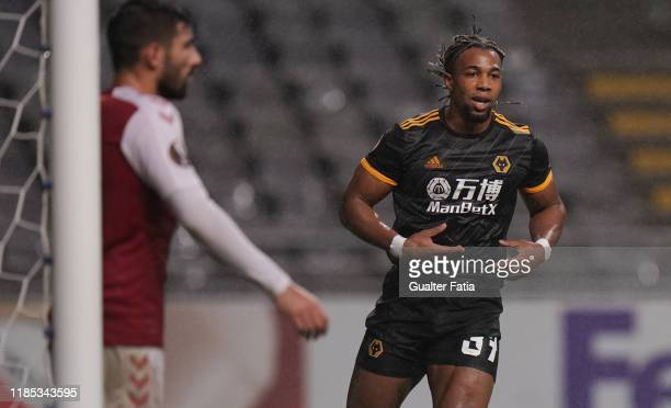 Adama Traore of Wolverhampton Wanderers celebrates after scoring a goal during the Group K UEFA Europa League match between SC Braga and...
