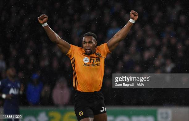 Adama Traore of Wolverhampton Wanderers celebrates after scoring a goal to make it 1-1 during the Premier League match between Wolverhampton...