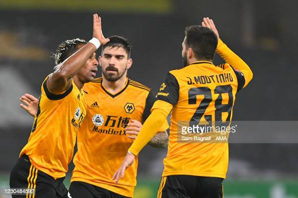 Adama Traore of Wolverhampton Wanderers celebrates after scoring a goal to make it 1-0 during the FA Cup Third Round match between Wolverhampton...