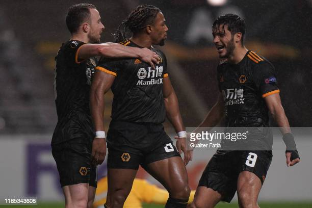 Adama Traore of Wolverhampton Wanderers celebrates with teammates after scoring a goal during the Group K UEFA Europa League match between SC Braga...