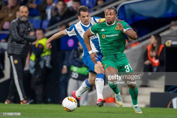 February 27: Adama Traore of Wolverhampton Wanderers challenged by Victor Sanchez of Espanyol during the Espanyol V Wolverhampton Wanderers, UEFA...