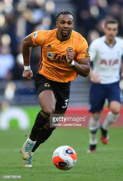 Adama Traore of Wolverhampton Wanderers chases down the ball during the Premier League match between Tottenham Hotspur and Wolverhampton Wanderers at...