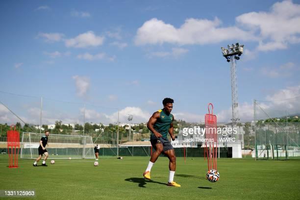 Adama Traore of Wolverhampton Wanderers controls the ball during the Wolverhampton Wanderers Pre-Season Training Camp at Marbella Football Center on...