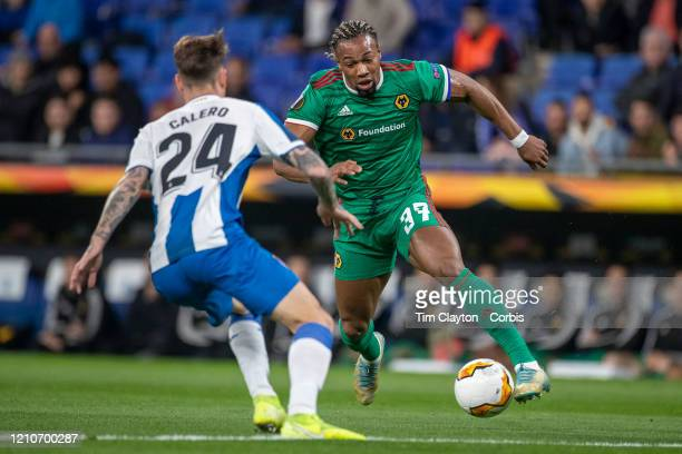February 27: Adama Traore of Wolverhampton Wanderers defended by Fernando Calero of Espanyol during the Espanyol V Wolverhampton Wanderers, UEFA...