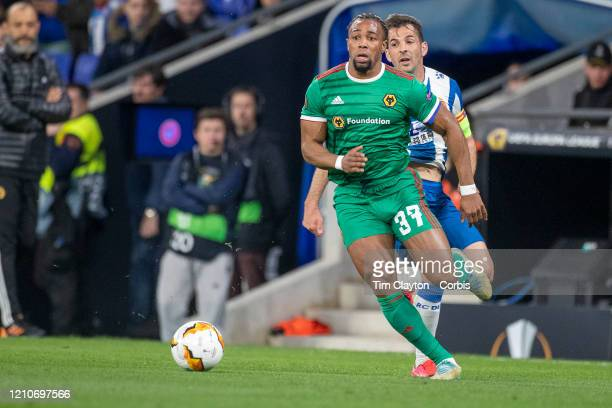 February 27: Adama Traore of Wolverhampton Wanderers defended by Victor Sanchez of Espanyol during the Espanyol V Wolverhampton Wanderers, UEFA...