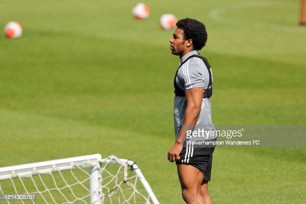 Adama Traore of Wolverhampton Wanderers during a training session at Sir Jack Hayward Training Ground on May 20 2020 in Wolverhampton England