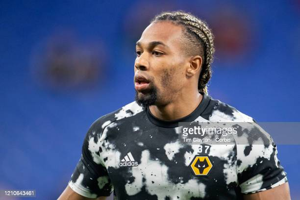 February 27: Adama Traore of Wolverhampton Wanderers during team warm up before the Espanyol V Wolverhampton Wanderers, UEFA Europa League, round of...