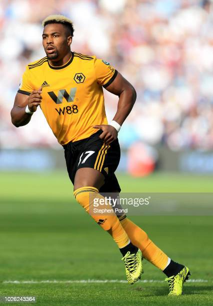 Adama Traore of Wolverhampton Wanderers during the Premier League match between West Ham United and Wolverhampton Wanderers at London Stadium on...