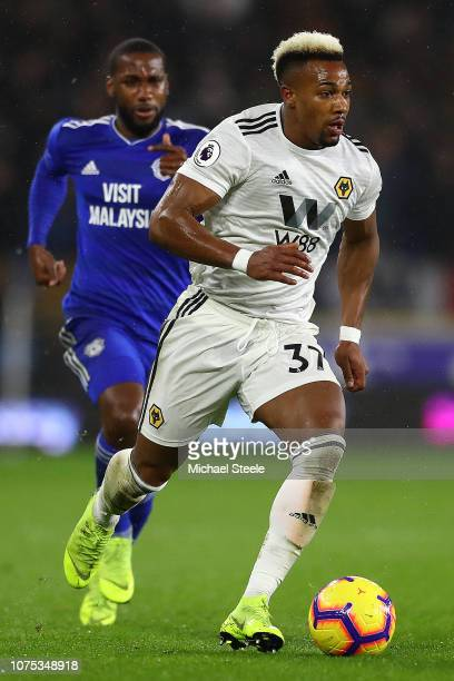 Adama Traore of Wolverhampton Wanderers during the Premier League match between Cardiff City and Wolverhampton Wanderers at Cardiff City Stadium on...