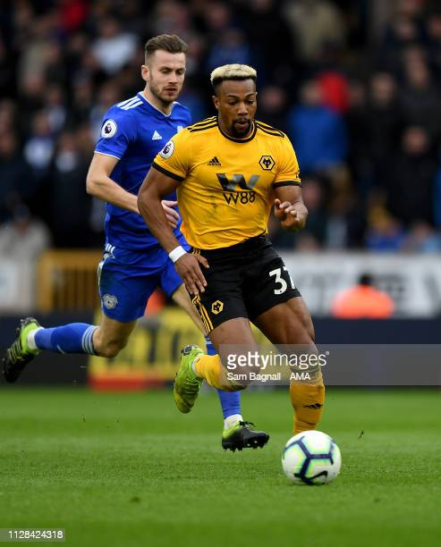 Adama Traore of Wolverhampton Wanderers during the Premier League match between Wolverhampton Wanderers and Cardiff City at Molineux on March 2 2019...