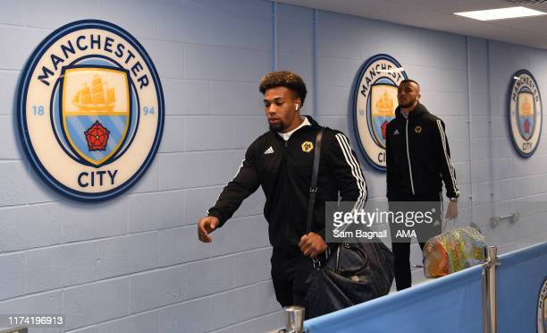 Adama Traore of Wolverhampton Wanderers during the Premier League match between Manchester City and Wolverhampton Wanderers at Etihad Stadium on...