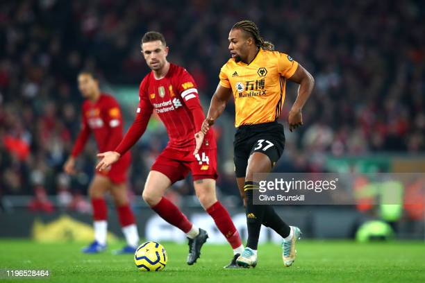 Adama Traore of Wolverhampton Wanderers during the Premier League match between Liverpool FC and Wolverhampton Wanderers at Anfield on December 29...
