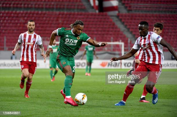 Adama Traore of Wolverhampton Wanderers during the UEFA Europa League round of 16 first leg match between Olympiacos FC and Wolverhampton Wanderers...