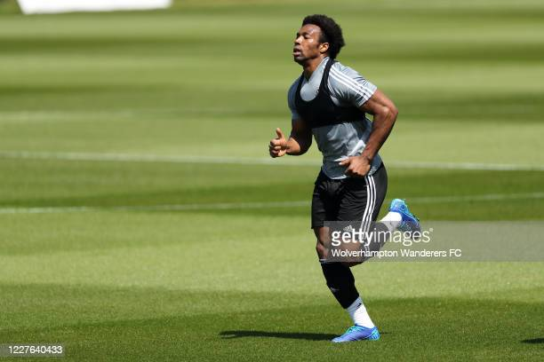 Adama Traore of Wolverhampton Wanderers in action during a training session at Sir Jack Hayward Training Ground on May 28 2020 in Wolverhampton...