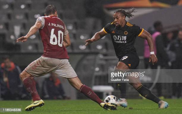 Adama Traore of Wolverhampton Wanderers in action during the Group K UEFA Europa League match between SC Braga and Wolverhampton Wanderers at Estadio...