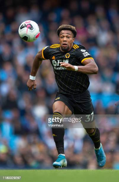 Adama Traore of Wolverhampton Wanderers in action during the Premier League match between Manchester City and Wolverhampton Wanderers at Etihad...