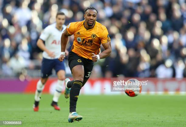 Adama Traore of Wolverhampton Wanderers in action during the Premier League match between Tottenham Hotspur and Wolverhampton Wanderers at Tottenham...