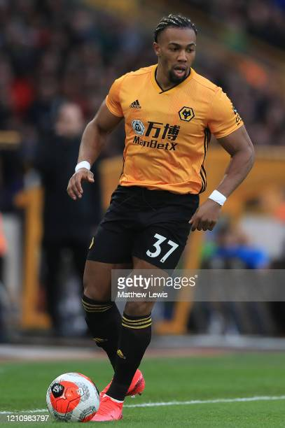 Adama Traore of Wolverhampton Wanderers in action during the Premier League match between Wolverhampton Wanderers and Brighton Hove Albion at...