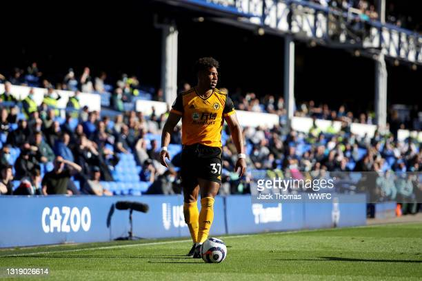 Adama Traore of Wolverhampton Wanderers in action during the Premier League match between Everton and Wolverhampton Wanderers at Goodison Park on May...