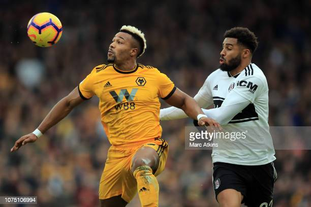 Adama Traore of Wolverhampton Wanderers in action with Cyrus Christie of Fulham during the Premier League match between Fulham FC and Wolverhampton...